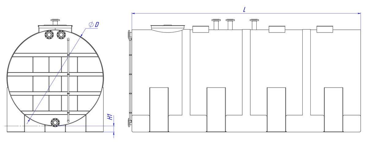 Емкости горизонтальные цилиндрические с высокими ложементами