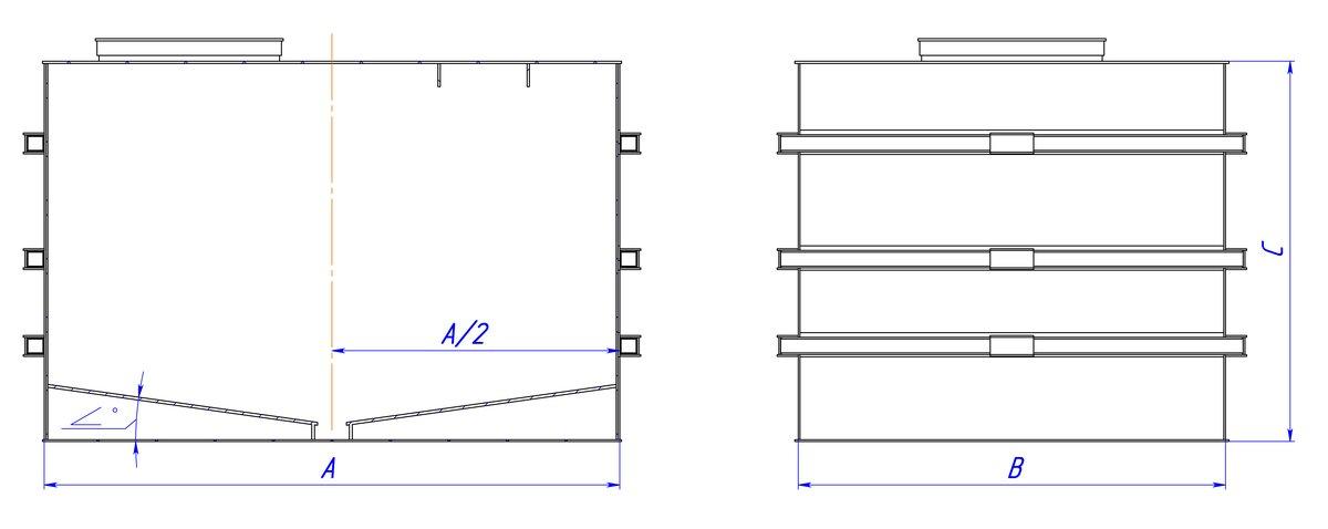 Прямоугольная емкость полиэтиленовая с двойным наклонным дном 2