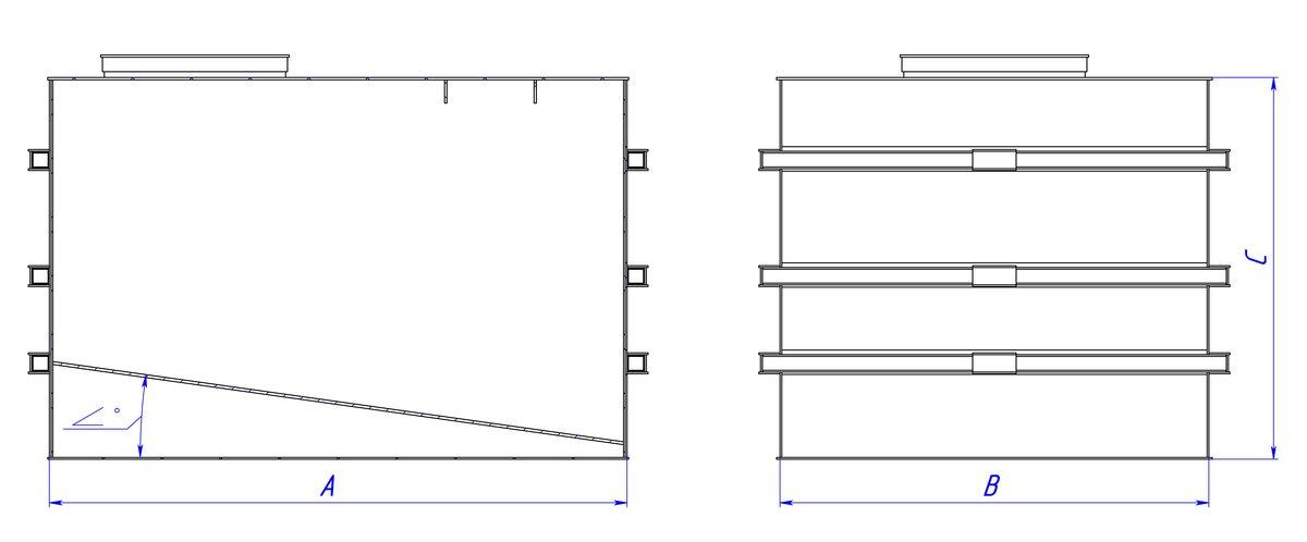 Прямоугольная емкость полипропиленовая с наклонным дном 2