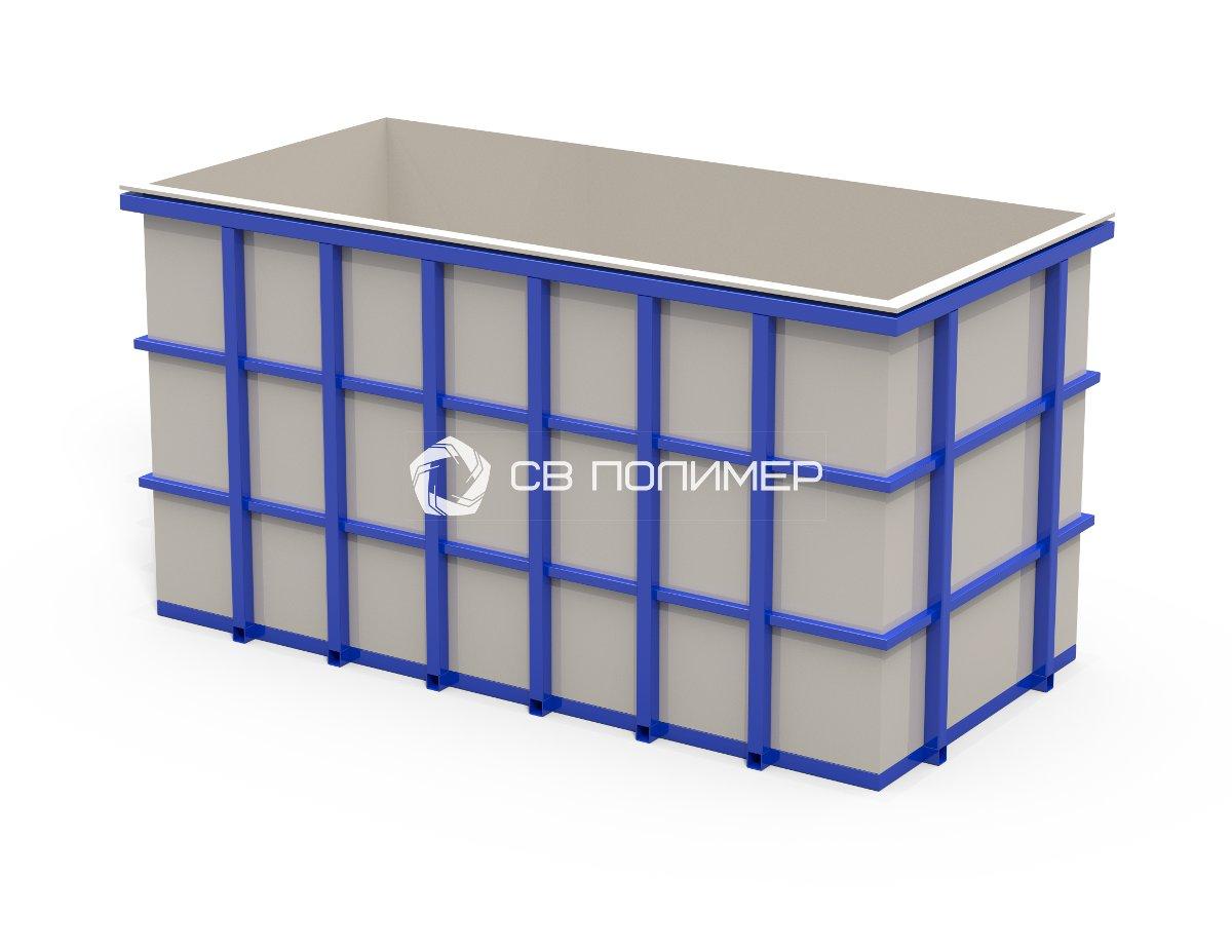 Прямоугольная емкость прямоугольная в металлическом каркасе 1