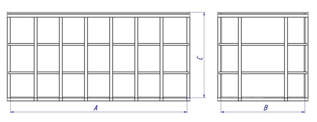 Прямоугольная емкость прямоугольная в металлическом каркасе 2