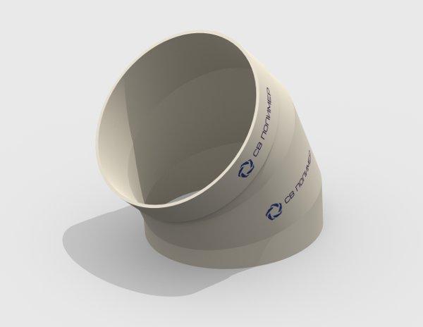 Отвод 45 вентиляционный круглый<br><span>раструб</span>