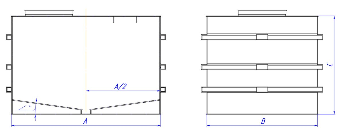 Прямоугольная емкость с двойным наклонным дном