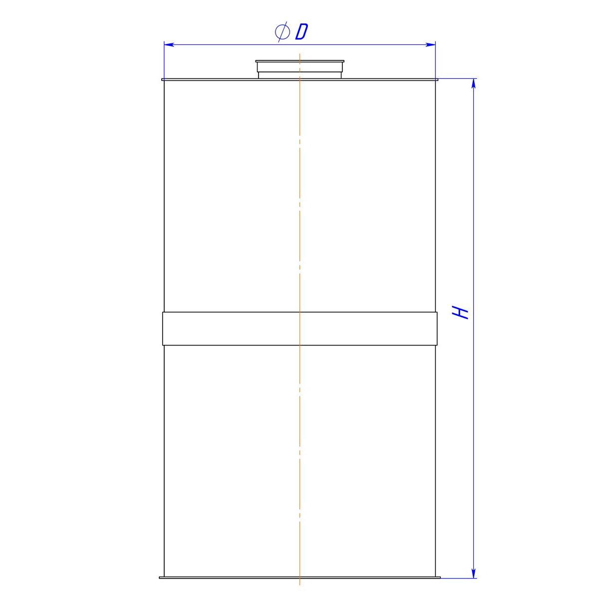 Емкость полипропиленовая вертикальная цилиндрическая с плоской крышкой 2