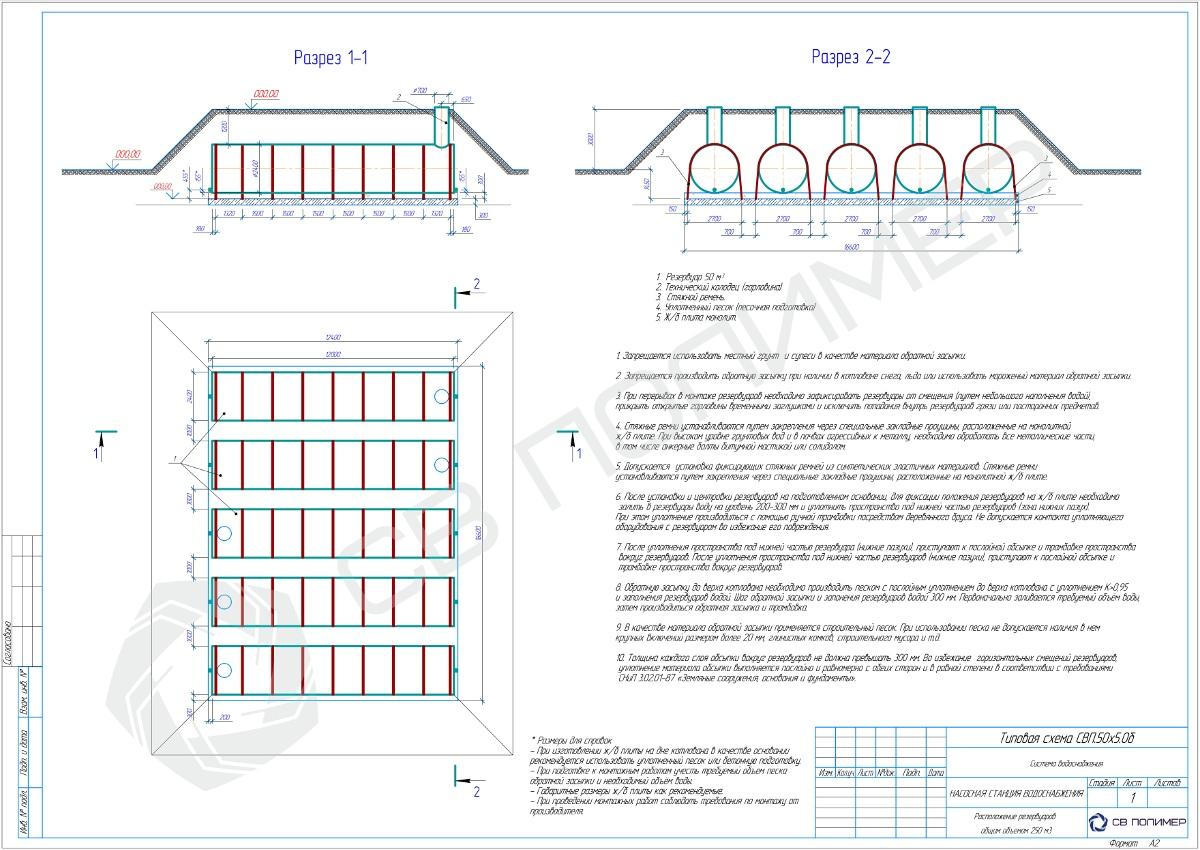 Типовая схема монтажа резервуаров
