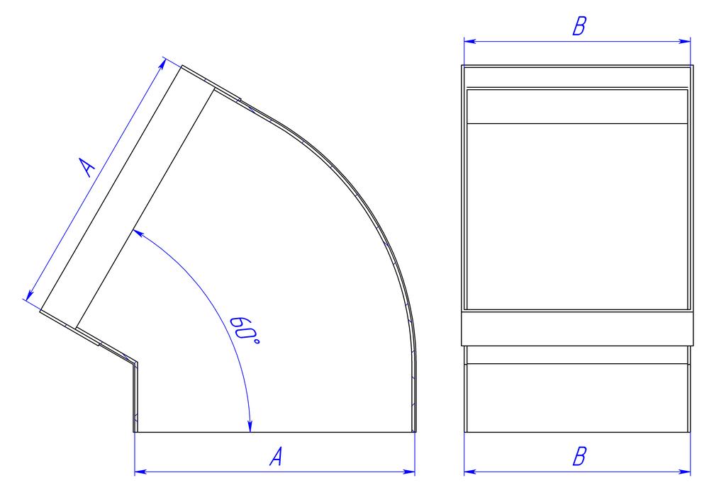 Отвод 60 гр прямоугольный раструб