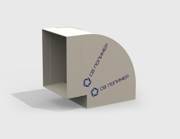 Отвод 90 градусов вентиляционный прямоугольный<br><span>раструб</span>