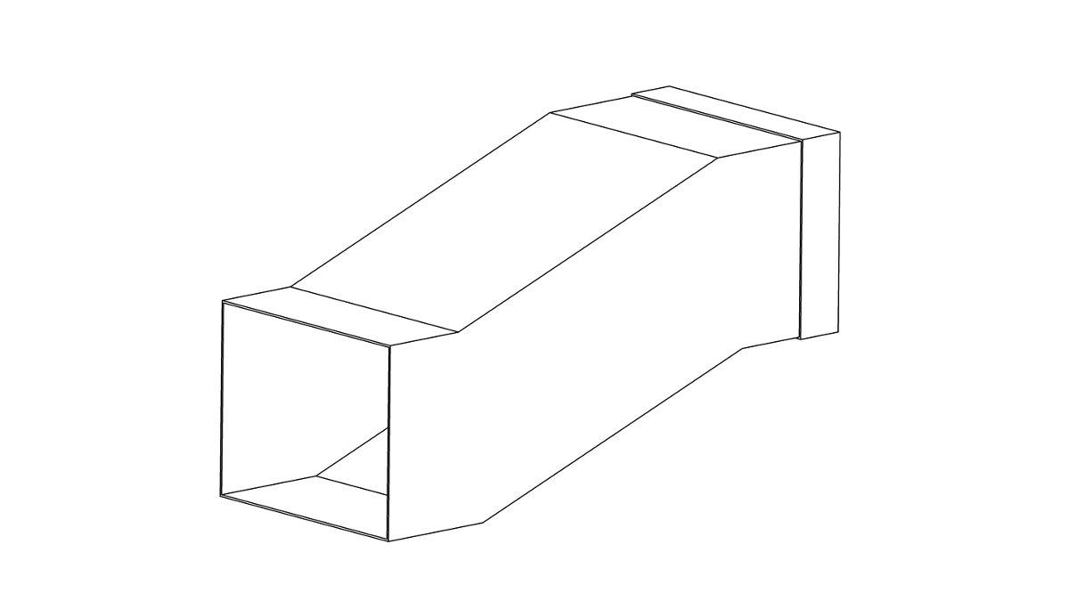 Утка вентиляционная прямоугольная: раструб 1350