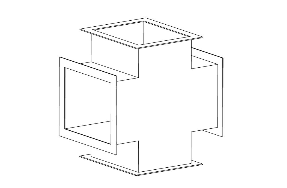 Крестовина прямоугольная фланец